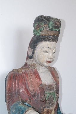 CHINESE-ART GUANYING MING dynasty wood 81cm. foto 4