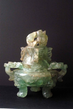 CHINESE-ART JADE CORO and COVER green 19th 19.3 cm.foto 4