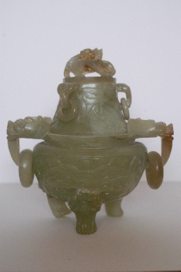 CHINESE-ART JADE CORO and COVER restored 19th 24 cm. foto 2