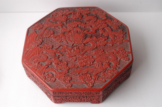 CHINESE-ART RED LACQUER DRAGON BOX Qianlong period 7.5*37.*37 cm. SOLD!