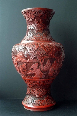 CHINESE RED LACQUER VASE QIANLONG period.37.5 cm. foto 6
