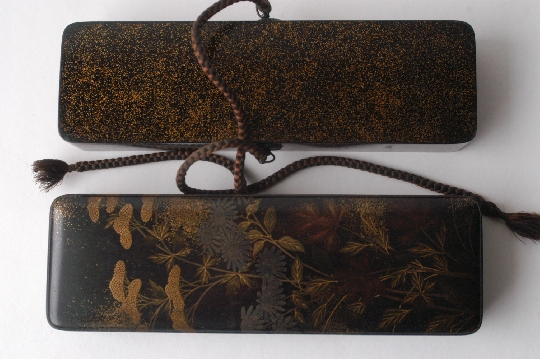 JAPANESE-ART EDO period FUBAKO lacquer GOLD and SILVER makie 3.5*6.8*21.7 cm. foto 2