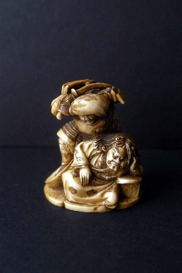 JAPANESE-ART netsuke SAMURAI and ONI ivory 19 th signed 5 cm. foto 2