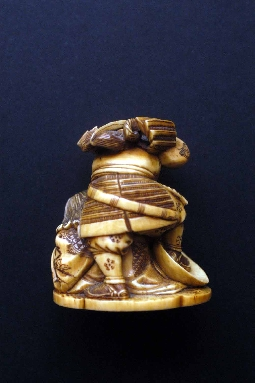JAPANESE-ART netsuke SAMURAI and ONI ivory 19 th signed 5 cm. foto 4