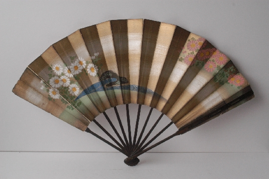 JAPANESE FAN silver gold  26.8 cm. foto 2